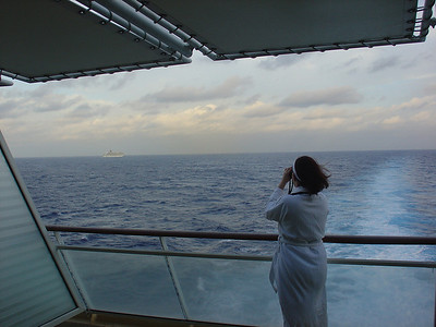 Sheila spies a Costa Cruise ship headed back to Florida